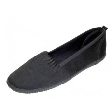 S305L-BB Wholesale Women's Elastic Upper Slip On Canvas Shoes ( *All Balck Color )